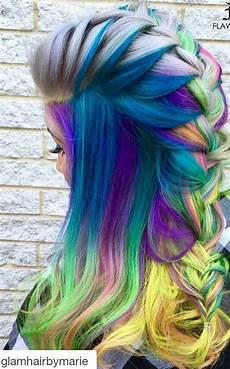 bright hair colors on pinterest bright hair rainbow hair and blue mixed braided rainbow dyed hair color cool hair color hair styles rainbow dyed hair