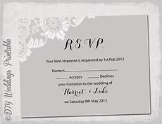 rsvp card template wedding rsvp template diy silver gray antique