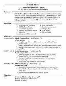 best payroll specialist resume exle livecareer