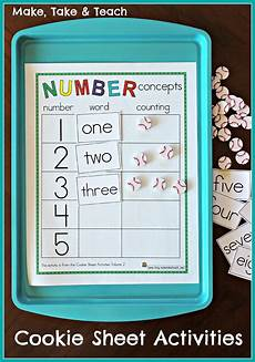 cookie sheet activities pre k k bundle early literacy and numeracy activities make take