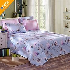 cotton flat sheets queen king size european printed single bed sheet pink flowers with elastic