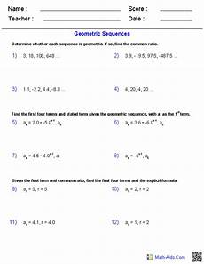 algebra 2 worksheets sequences and series worksheets