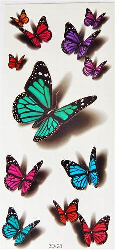 Colorful 3d Butterflies Scorpions Cats Temporary Tattoos
