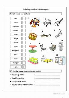 free worksheets for elementary students 15488 vocabulary matching worksheet elementary 2 4 musical instruments house words worksheet