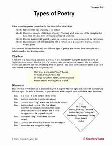poetry worksheets for year 8 25285 poetry lessons activities gallery of worksheets grades 6 8 teachervision