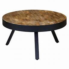 Table Basse Ronde Teck Et M 233 Tal Style Industriel Et Loft