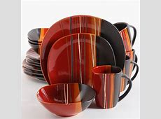 Bazaar Red 16 Piece Square Dinnerware Set, Red