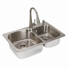 kitchen sink faucets at home depot glacier bay all in one dual mount stainless steel 33 in 2 bowl kitchen sink sm2034