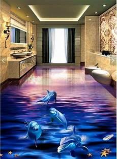 3d Wall - 3d dolphin sunset floor mural photo flooring