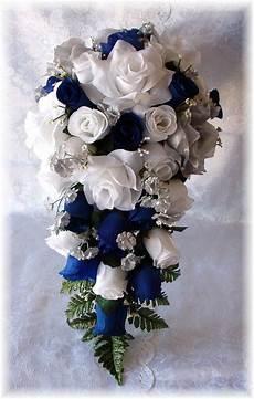 8pc royal blue white silver silk wedding flowers bridal bouquet roses silk flowers seem