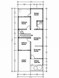 Small Two Story House Plans 6mx15m House Affair