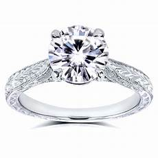 kobelli 1 1 2 carats ct tw style moissanite engagement ring with diamond in 14k white gold