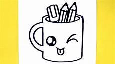dessin facile comment dessiner tasse crayons kawaii dessin kawaii et