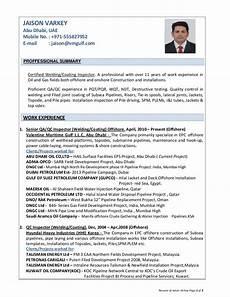 Resume Of Jaison Varkey Qa Qc Inspector Welding Coating