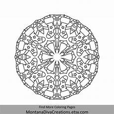 winter mandala printable coloring page instant etsy