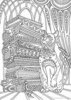 cat and books printable coloring page from favoreads etsy