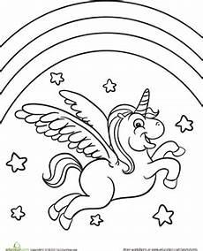 Malvorlage Regenbogen Einhorn Color The Flying Unicorn Worksheet Education