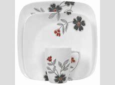 Corelle Squares Mandarin Flower 16 Piece Dinnerware Set