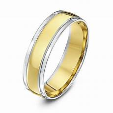 9kt white yellow gold court 6mm wedding ring
