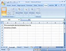 ms excel 2007 rename a sheet