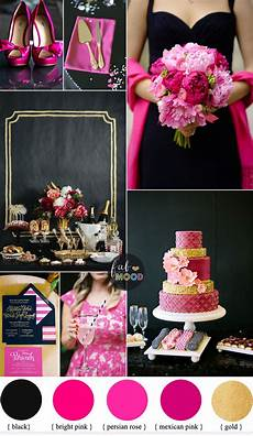 black and pink wedding colour theme bright pink perisian rose gold