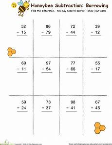 free math worksheets subtraction borrowing subtraction with borrowing honeybees math worksheets