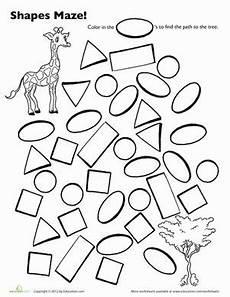shape maze worksheet 1194 maze tes and preschool on