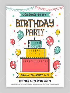 happy birthday invitation card template birthday invitation card or welcome card design