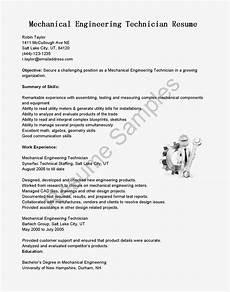 resume sles mechanical engineering technician resume