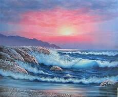 peinture mer coucher soleil en bord de mer 220 231 l 252 pano