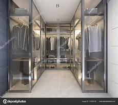 cabine armadio in vetro vetro lusso moderno rendering cabina armadio con decori