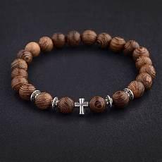Bakeey Carved Cross Beaded Bracelet wood with cross bracelet prayer