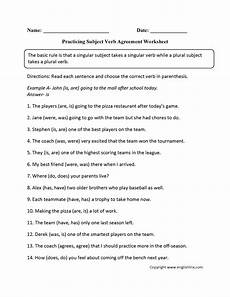 subject verb agreement worksheets englishlinx com board