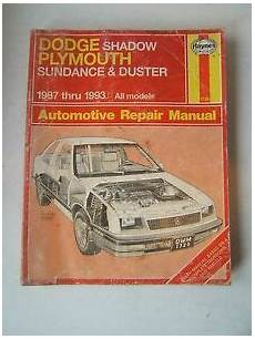 how to download repair manuals 1993 plymouth sundance spare parts catalogs dodge shadow plymouth sundance duster haynes repair manual 1987 1993 shop used ebay