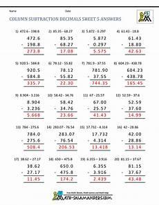 column addition and subtraction of decimals worksheets 7607 5th grade math practice subtracing decimals