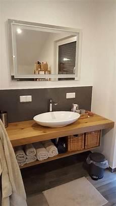 Waschtisch Platte Brett Konsole Baumkante Massiv Holz
