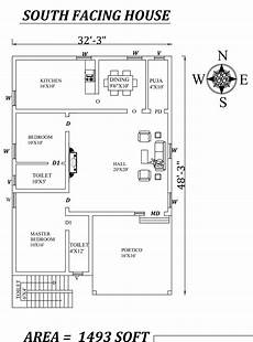south facing vastu house plans 32 x48 wonderful 2bhk south facing house plan as per