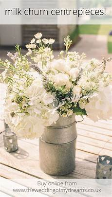 silver milk churn table centre wedding table centres