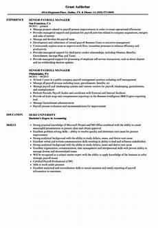 resume format payrol executive senior payroll manager resume sles velvet
