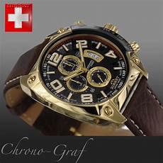 herren gold uhr bisset herren uhr chronograph gold lederarmband braun