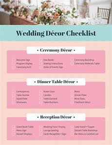 pink wedding decor checklist template template venngage
