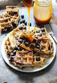 homemade browned butter blueberry waffles layers of