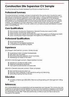 Building Manager Uk by Construction Site Supervisor Cv Sle Myperfectcv