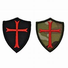 2 pcs knights templar cross shield military army embroidered morale patch