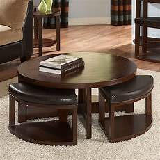 homelegance brussel ii round brown cherry wood coffee table with 4 ottomans coffee tables at