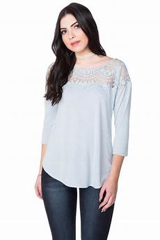 3 4 length sleeve tops 3 4 length sleeve top with ornate lace detail
