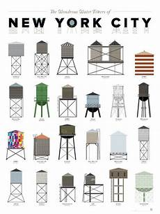 Pop Chart Lab Broadway Costumes The Wonderous Water Towers Of Nyc Print By Pop Chart Lab