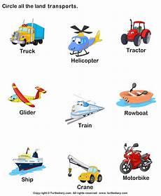 preschool vocabulary worksheet identify land transports languagearts education teaching