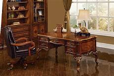 vintage home office furniture executive desk antique walnut w gold accent finish