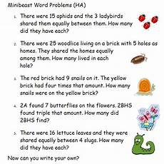 word problems year 2 minibeast theme these are a collection of simple word problems i created